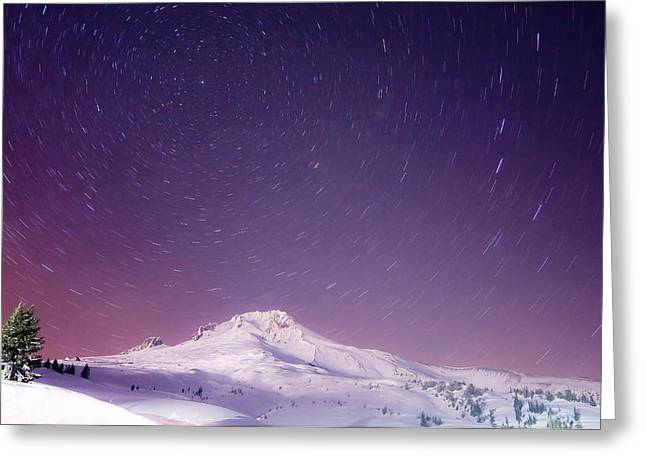 Snowfall Greeting Cards - Mount Hood and Stars Greeting Card by Darren  White
