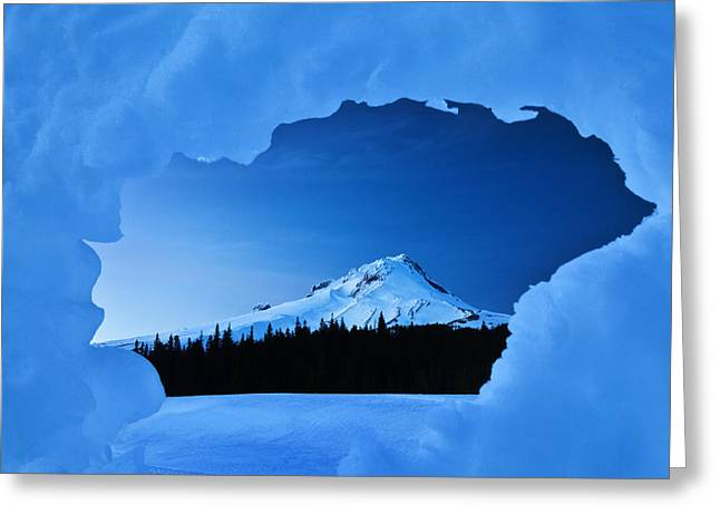 Winter Scene Photographs Greeting Cards - Mount Hood Blues Greeting Card by Darren  White