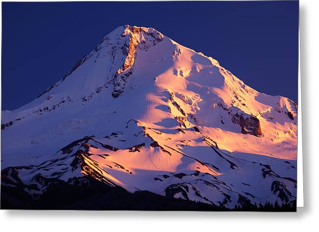 River Scenes Greeting Cards - Mount Hood last Light Greeting Card by Darren  White