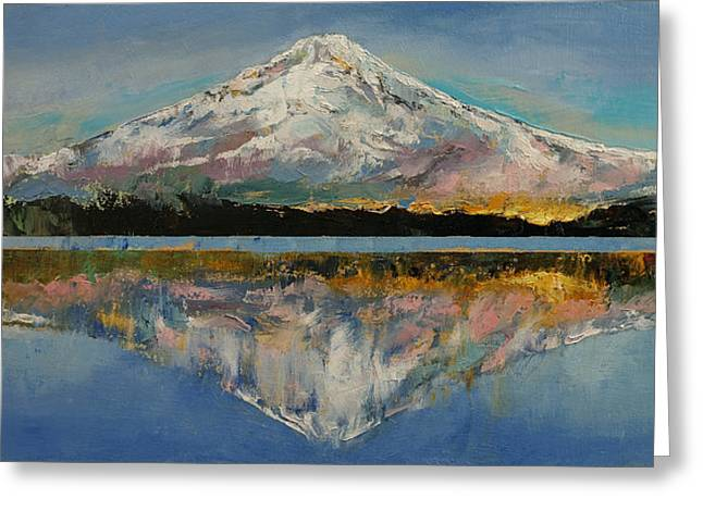 Lago Greeting Cards - Mount Hood Greeting Card by Michael Creese