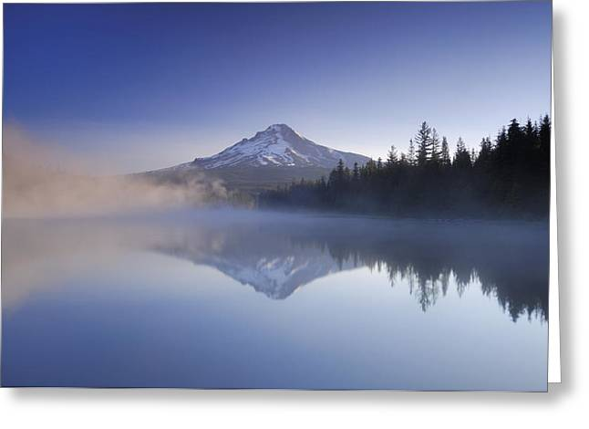 Foggy Day Greeting Cards - Mount Hood Reflected In A Foggy Greeting Card by Peter Carroll
