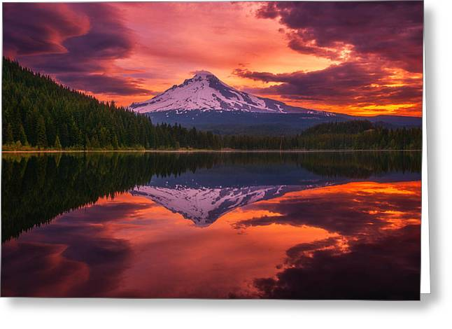 Storm Framed Prints Greeting Cards - Mount Hood Sunrise Greeting Card by Darren  White