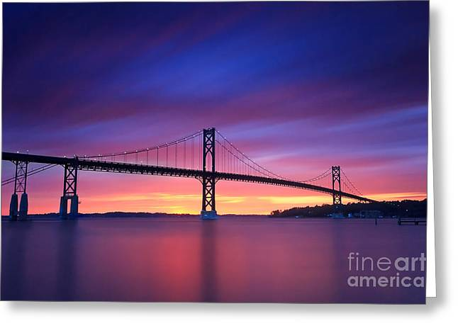 Beach Greeting Cards - Mount Hope Bridge Sunset Seascape Greeting Card by Katherine Gendreau