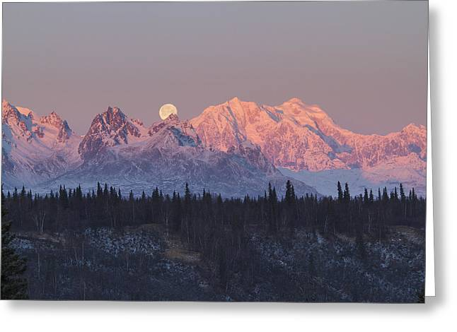 Moon Set Greeting Cards - Mount Hunter Moon Rise Greeting Card by Tim Grams