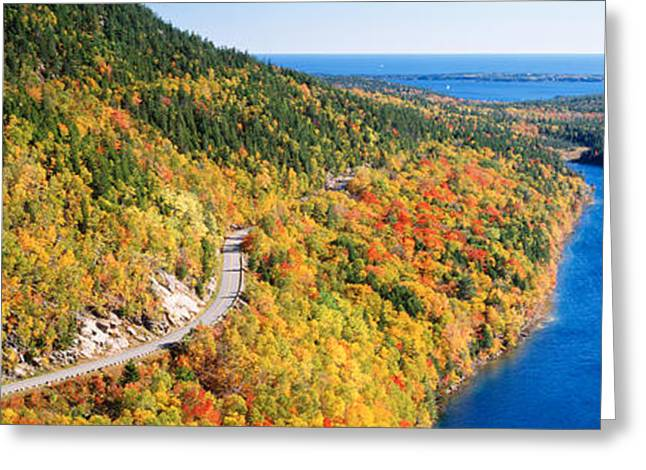Roadway Greeting Cards - Mount Jordan Pond, Acadia National Greeting Card by Panoramic Images