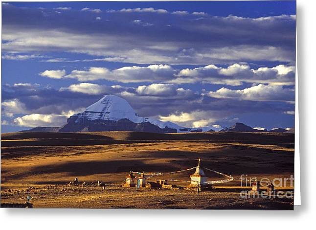 Tibetan Region Greeting Cards - Mount Kailash and Chiu Gompa - Tibet Greeting Card by Craig Lovell