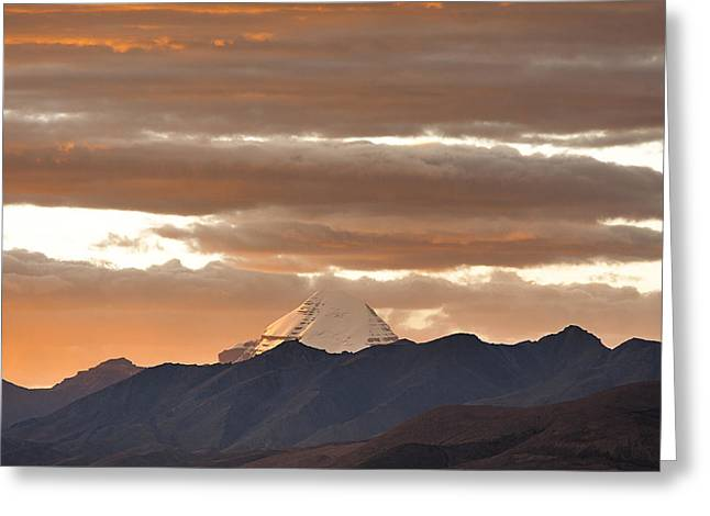 Jainism Greeting Cards - Mount Kailash and Evening clouds Greeting Card by Hitendra SINKAR