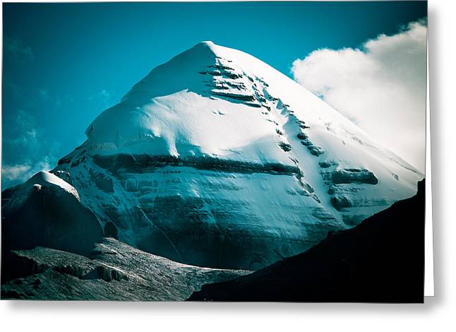 Stones Pyrography Greeting Cards - Mount Kailash Home of the Lord Shiva Greeting Card by Raimond Klavins