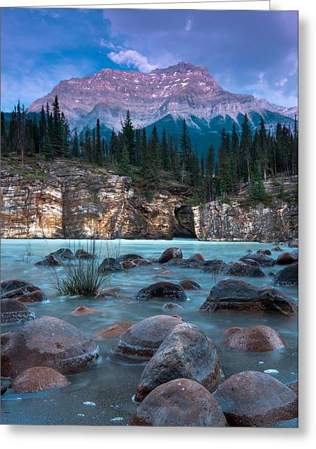 Alberta Water Falls Greeting Cards - Mount Kerkeslin  Greeting Card by Cale Best