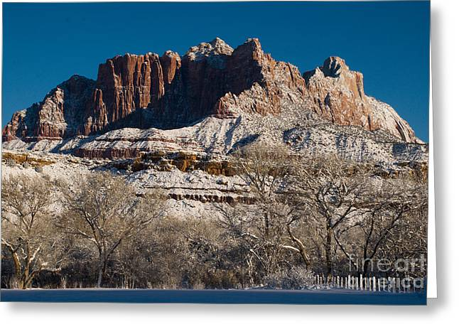 Geobob Greeting Cards - Mount Kinesava in Winter in Zion National Park seen from Rockville Utah Greeting Card by Robert Ford