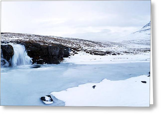 Snowy Day Greeting Cards - Mount Kirkjufell and Kirkjufellsfoss Waterfall Greeting Card by Ollie Taylor