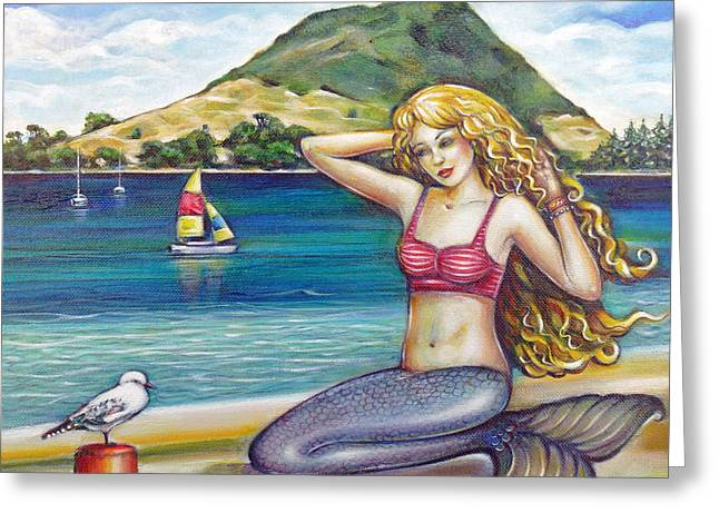 Mount Maunganui Greeting Cards - Mount Maunganui Beach Mermaid 160313 Greeting Card by Selena Boron