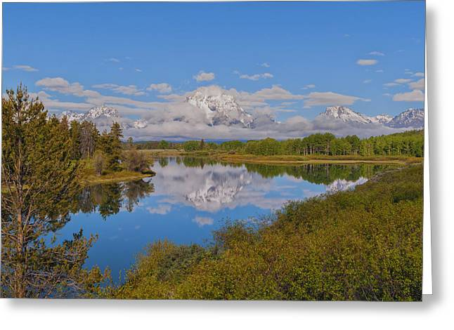 Blue Green Water Greeting Cards - Mount Moran On Oxbow Bend Greeting Card by Brian Harig
