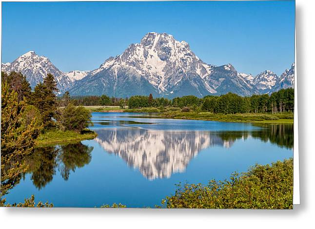Tetons Greeting Cards - Mount Moran on Snake River Landscape Greeting Card by Brian Harig