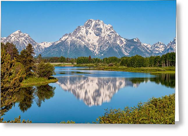 Blue Art Greeting Cards - Mount Moran on Snake River Landscape Greeting Card by Brian Harig