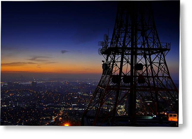Seoul Greeting Cards - Mount Namsan Twilight Greeting Card by Aaron S Bedell