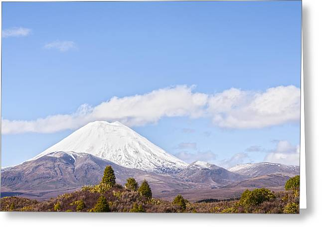Doomed Greeting Cards - Mount Ngauruhoe Tongariro National Park New Zealand Greeting Card by Colin and Linda McKie