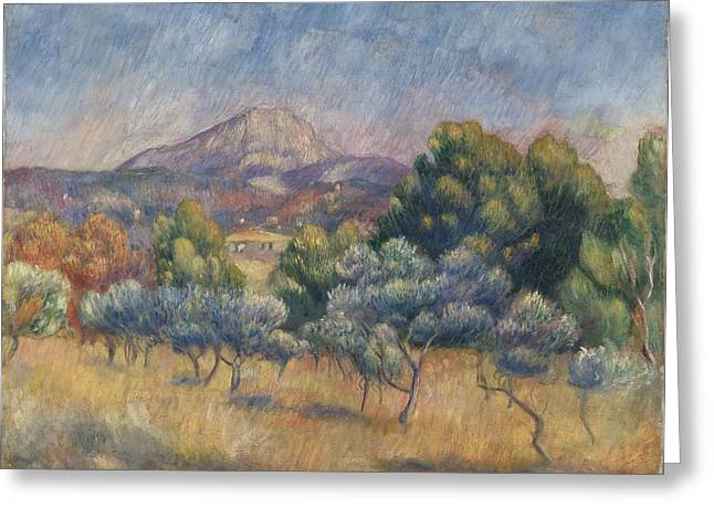 European Landscape Greeting Cards - Mount Of Sainte-victoire, C.1888-89 Greeting Card by Pierre Auguste Renoir