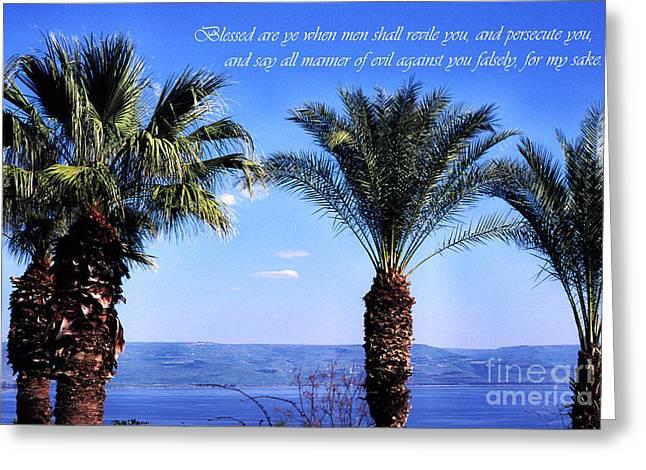 Jesus Sermon Greeting Cards - Mount of the Beatitudes Greeting Card by Thomas R Fletcher