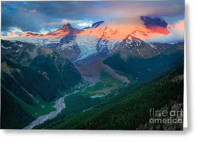 White River Greeting Cards - Mount Rainier and White River Greeting Card by Inge Johnsson