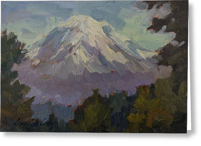 Snow Capped Greeting Cards - Mount Rainier from Vashon Island Greeting Card by Diane McClary