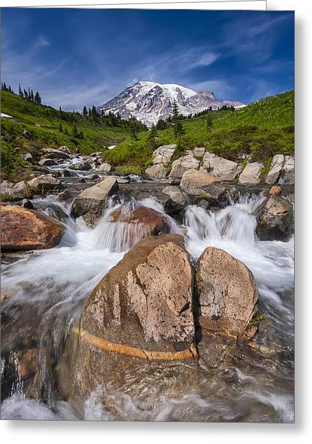 Rapids Photographs Greeting Cards - Mount Rainier Glacial Flow Greeting Card by Adam Romanowicz