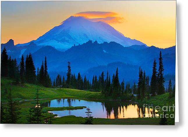 Meadow Scene Greeting Cards - Mount Rainier Goodnight Greeting Card by Inge Johnsson