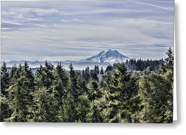 Mount Rainier In The Distance Greeting Card by Cathy Anderson