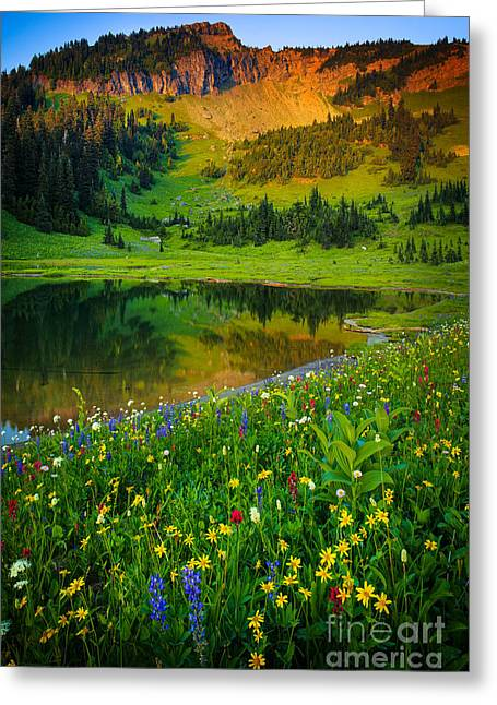 Botanic Greeting Cards - Mount Rainier Lake Greeting Card by Inge Johnsson
