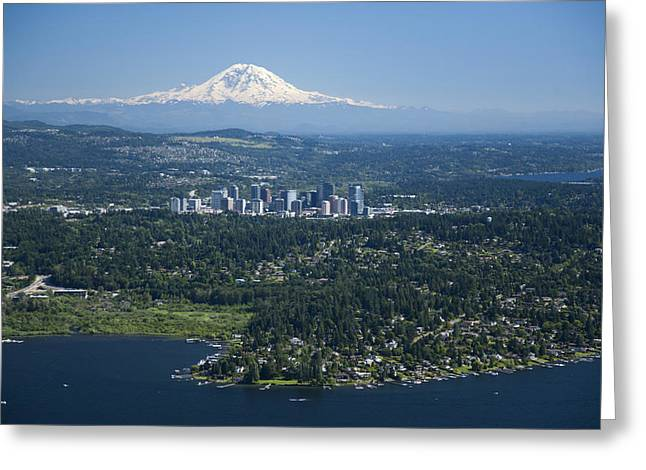 Oblique Greeting Cards - Mount Rainier, Lake Washington Greeting Card by Andrew Buchanan/SLP