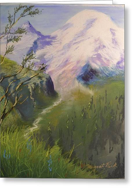 Seattle Pastels Greeting Cards - Mount Rainier Greeting Card by Margaret Park