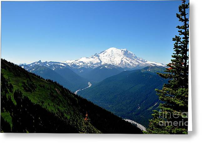 Crystall Greeting Cards - Mount Rainier Seen from Crystal Mountain Summit  4 Greeting Card by Tanya  Searcy
