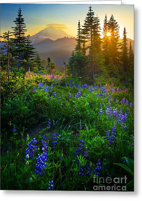 Sunset Scene Greeting Cards - Mount Rainier Sunburst Greeting Card by Inge Johnsson
