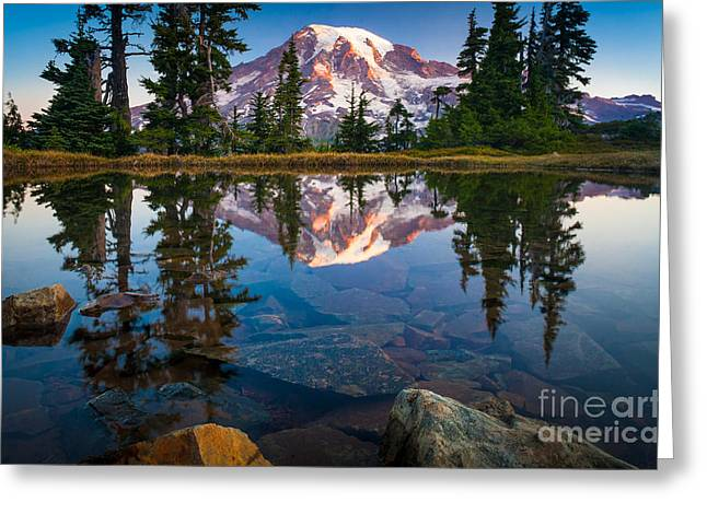 Illuminate Greeting Cards - Mount Rainier Tarn Greeting Card by Inge Johnsson