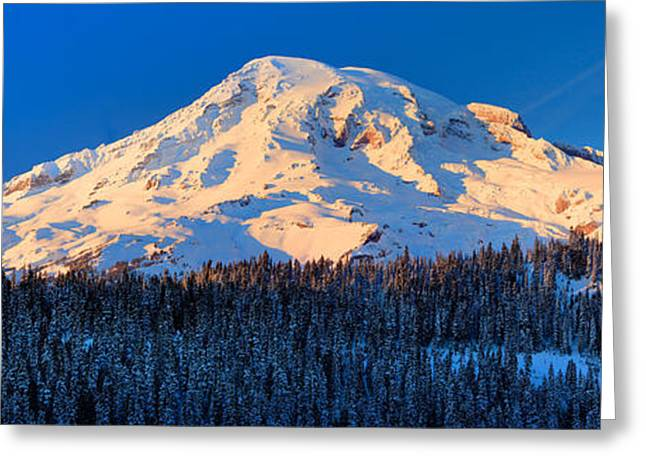 Winter Travel Greeting Cards - Mount Rainier Winter Evening Greeting Card by Inge Johnsson