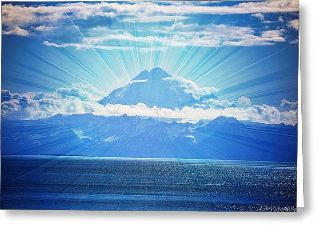 Mount Redoubt Amazing Landscape Greeting Card by Debra  Miller