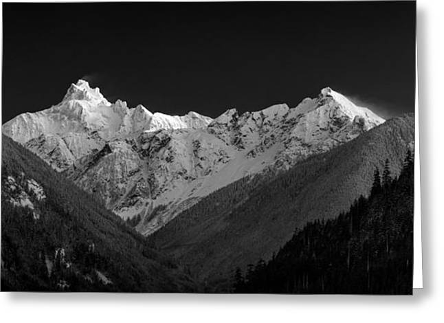 Snowy Evening Greeting Cards - Mount Redoubt and Nodoubt Peak Greeting Card by Michael Russell