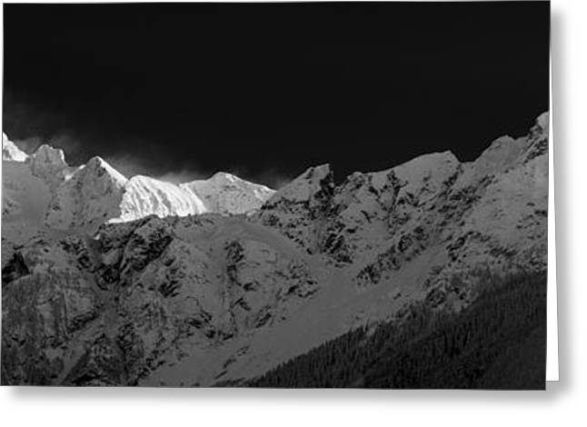 Snowy Evening Greeting Cards - Mount Redoubt and Nodoubt Peak Panorama Greeting Card by Michael Russell