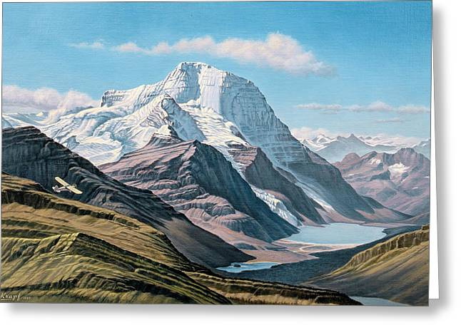 Canada Landscape Greeting Cards - Mount Robson From The Air    Greeting Card by Paul Krapf