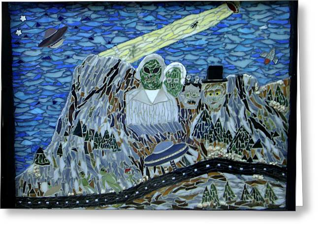 Intergalactic Space Glass Art Greeting Cards - Mount Rossmore Greeting Card by Pamela Holt