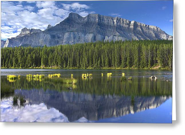 Candian Greeting Cards - Mount Rundle Reflection Banff NP Greeting Card by Tim Fitzharris