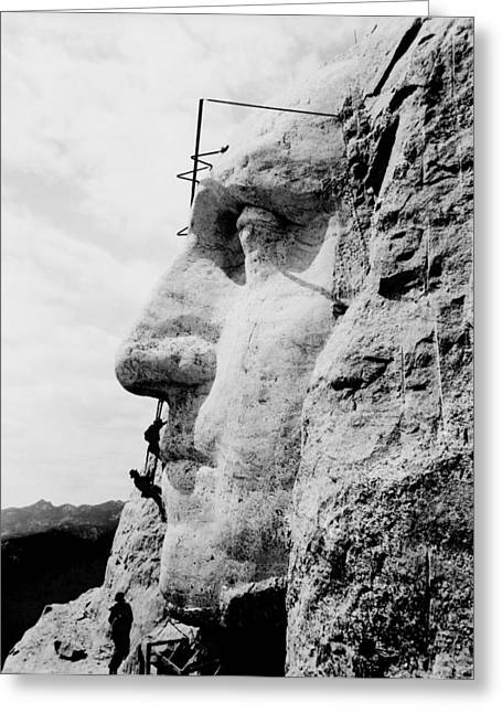 Mount Rushmore Greeting Cards - Mount Rushmore Construction Photo Greeting Card by War Is Hell Store