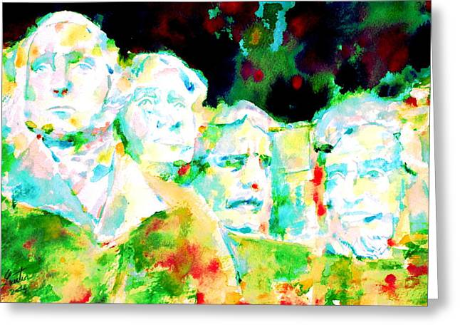 Statue Portrait Paintings Greeting Cards - Mount Rushmore  Greeting Card by Fabrizio Cassetta