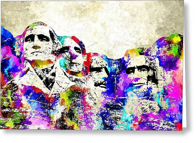 Lincoln Memorial Mixed Media Greeting Cards - Mount Rushmore Grunge Greeting Card by Daniel Janda