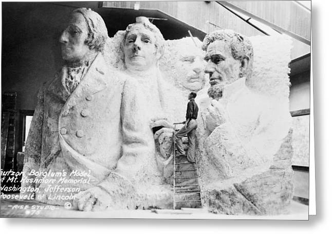 Borglum Greeting Cards - Mount Rushmore model Greeting Card by Science Photo Library