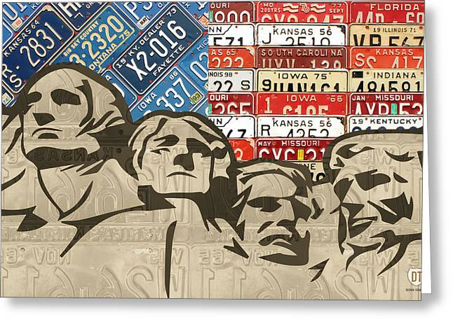 South Dakota Map Greeting Cards - Mount Rushmore Monument Vintage Recycled License Plate Art Greeting Card by Design Turnpike