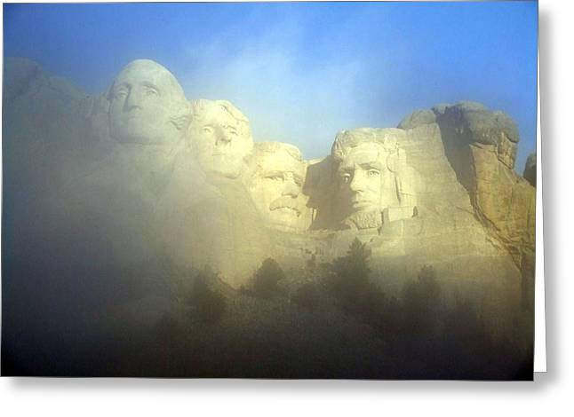 Borglum Greeting Cards - Mount Rushmore National Memorial Through The Fog  Greeting Card by National Parks Service