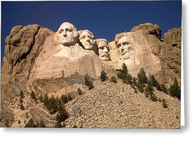Designs On Face Greeting Cards - Mount Rushmore National Monument South Dakota - Color Greeting Card by Peter Fine Art Gallery  - Paintings Photos Digital Art