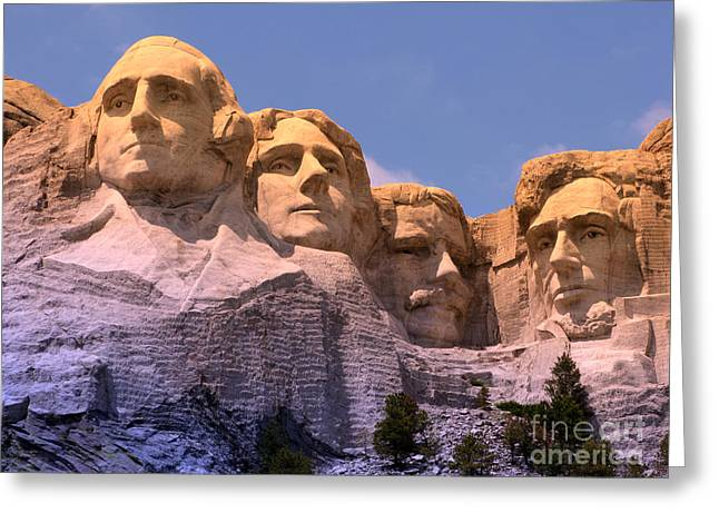 Carving Greeting Cards - Mount Rushmore Greeting Card by Olivier Le Queinec