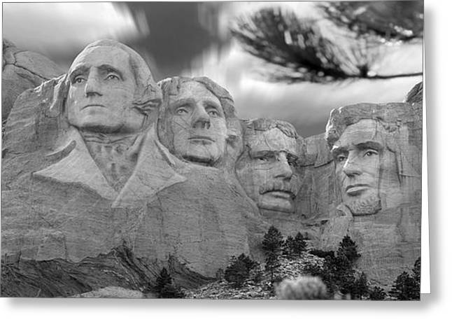 Stones Digital Art Greeting Cards - Mount Rushmore Panoramic Greeting Card by Mike McGlothlen